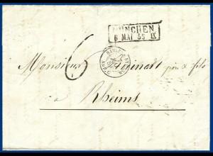 Bayern 1859, R2 München auf Brief m. Frankreich Bahnpost u. Porto Stempel. #1476