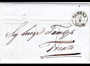 Italien Lombardei Venetien 1848, Zier-K2 VERONA klar auf Porto Brief n. Trento