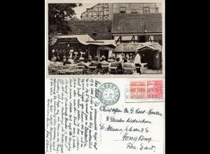 Dänemark 1935, 10+15 öre auf AK Lorry`s Park n. Hong Kong