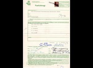 Dänemark 1959, 1 Kr. auf Post Formular POSTFULMAGT