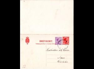 Dänemark P 185, 10+15 öre Doppelkarte m. Stpl. HORSHOLM