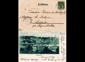 DR 1900, Nord Schleswig K1 RINKENIS auf AK m. 5 Pf. Germania