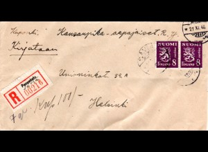 Finnland 1946, Paar 8 Mk auf Brief m. provisorischem Reko Zettel Sävia/Parantala