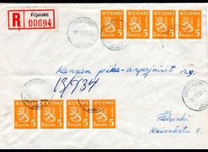 Finnland 1950, 8x5 Mk auf Brief v. Kangaslampi m. Aushilfs R-Zettel Viijolahti