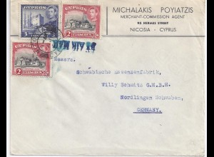 Zypern Cyprus 1950, Luftpost airmail Firmen Brief m. 3 Marken n. Deutschland.#10