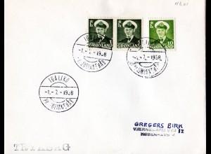 Grönland 1958, Brief m. 3 Marken u. Stempel IGALIKO PR. JULIANEHAB