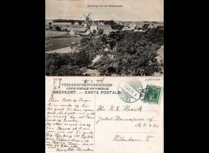 Dänemark, Svinninge, 1907 gebr. sw-AK m. Windmühle