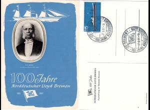 BRD 1957, 100 Jahre Norddt. Lloyd Bremen, Schiff AK m. entsprechendem Sonderstpl