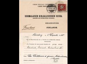 Bayern 1908, 10 Pf. auf Karte v. Nürnberg n. Finnland m. interess. Unterschrift!