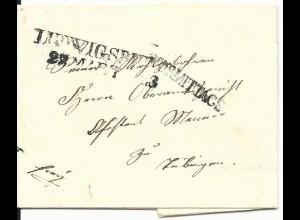 Württemberg 1843, L2 LUDWIGSBURG u. VORMITTAGS auf Franko Brief n. Tübingen