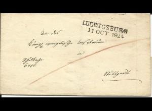 Württemberg 1824, L2 LUDWIGSBURG klar auf Dienst Brief n. Stuttgart