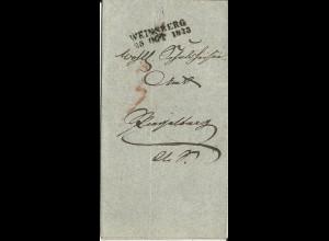 Württemberg 1843, L2 WEINSBERG auf Amts Brief n. Ziegelberg