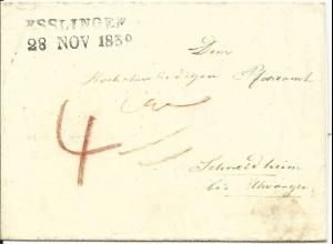 Württemberg 1839, L2 ESSLINGEN auf Pfarramts Brief n. Schneidheim b. Ellwangen