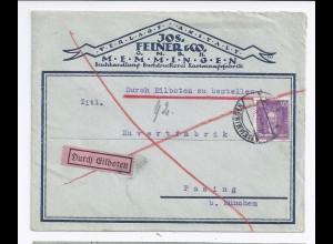 DR 1927, Memmingen Werbung Reklame Brief p. Eilboten m. EF 40 Pf. Leibniz. #1422