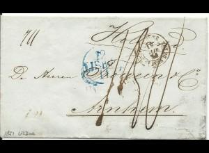 Portugal 1851, blauer K1 LISBOA auf Porto Brief via Frankreich n. NL