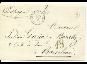 Frankreich 1871, K1 Napoleon St. Leu Taverny auf Porto Brief n. Spanien