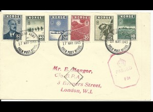 Norwegen 1943, 6 Marken auf Zensur Brief NORWEGIAN ARMY FIELD POST OFFICE in GB