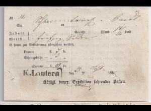 Bayern1858, Kaiserslautern, R1 K.Lautern auf Postschein f. Wert Brief. #667