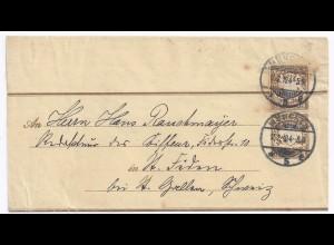 Bayern 1904, 3 Pf Ganzsache Ausschnitt a.3 Pf Streifband! Selten! #1427