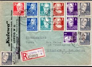 SBZ 1949, 14 Marken auf portorichtigem Einschreiben Brief v. 10b Leipzig n. USA