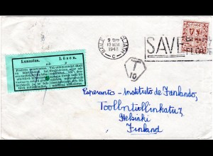 Irland 1948, 2 1/2 P. auf Brief m. T Stpl. u. Finnland Lösen 4,50 Mk. Etikett