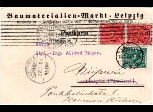 DR 1922, 4+Paar 10 Mk. auf Firmen Karte v. Leipzig n. Finnland. Nachsendung