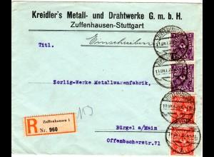 DR 1922, 4 Marken auf Firmen Reko Brief v. Zuffenhausen - Stuttgart