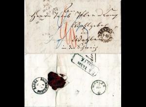 Sachsen 1852, K2 DRESDEN auf Porto Brief via Baden Bahnpost i.d Schweiz