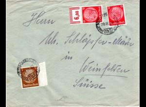 DR 1938, 3+12+12 Pf. auf Ostmark Brief m Bahnpost Stpl. St. Pölten - Leobersdorf