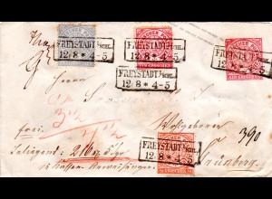 NDP, 1/2+1+2 Gr. Zusatzfrankatur auf 1 Gr. Ganzsache Brief v. FREYSTADT