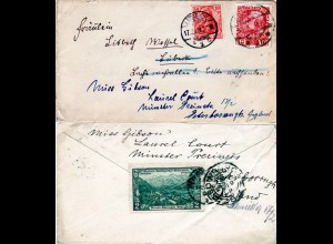 Österreich 1909, 10 H. auf Brief v. Meran m. 10 Pf. DR f. Nachsendung v. Lübeck