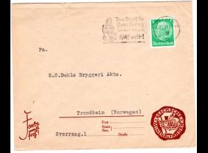 DR 1939, EF 5 Pf. auf Drucksache Brief v. KREFELD 2 n. Norwegen