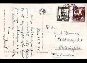 Vatikan 1934, 25+50 C. auf AK n. Finnland. Destination!