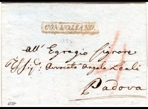 Lombardei Venetien Italien 1827, R1 CONEGLIANO klar auf Porto Brief n. Padova