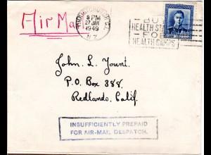 Neuseeland 1949, Luftpost Brief m. R1 Insufficiently Prepaid for Air-Mail...