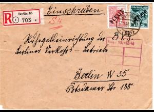 Berlin 1948, 16+60 Pf. auf Orts Einschreiben Brief v. Berlin 65