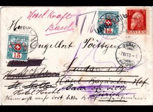 Bayern 1913, Brief v. Heimenkirch m. Schweiz Porto. Mehrfache Nachsendung