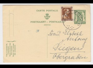 Belgien 1938, Malmedy D, Ganzsache m. Zusatzfrankatur n. Deutschland. #2325