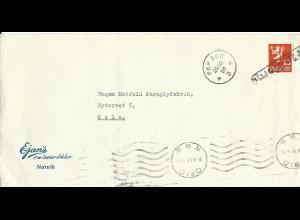 Norwegen, 25 öre m. Stpl. Fran Norge auf Brief von Narvik über Schweden n. Oslo