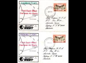Solomon Islands 1976, 2 RAAF Flight covers to Lord Howe and Norfolk Island