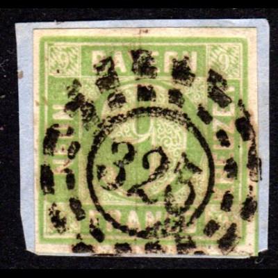 Bayern 5, breitrandige 9 Kr. Wappen auf schönem Briefstück m. oMR-Stpl. 325