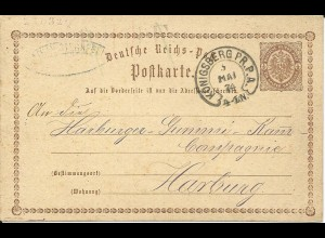 DR 1874, Hufeisen Stpl. KÖNIGSBERG PR.P.A. klar auf 1/2 Gr. Ganzsache