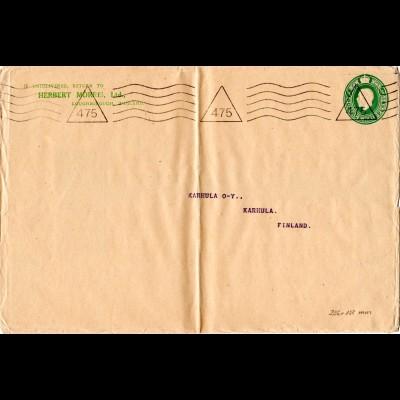 GB, 1/2d Privat Ganzsache Brief H. Morris, Loughborough nach Finnland