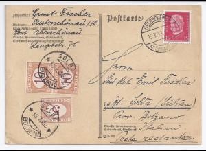 DR Italien 1933, 15 Pf auf Karte v Oberschönau Schmalkalden m Porto Marken #1715