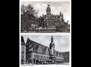 Leipzig, altes u. neues Rathaus, 2 gebr. sw-AK