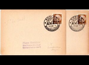 DR 1939/42, Goslar Reichsbauernstadt, 2 unterschsch. So-Stpl. auf 2 Karten
