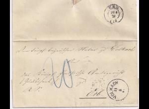 Bayern 1879, K1 Volkach auf Porto Brief n. ORB, ehemals bayer. Postort! . #1704