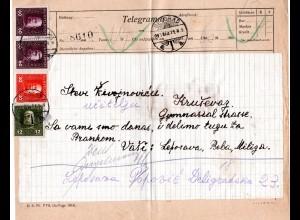 Österreich Serbien 1918, 4 Feldpost Marken auf Telegramm v. Belgrad