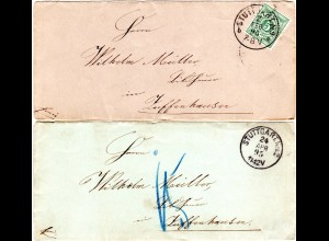 Württemberg 1893/95, 2 Orts Briefe v. Stuttgart, 1mal m. Zuffenhausen Nachporto