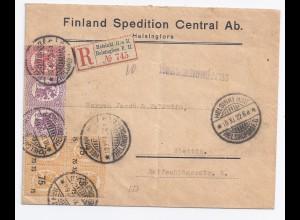 Finnland DR 1922, Einschrieben Brief m. 7 Werten v. Helsinki H:o II. #1624